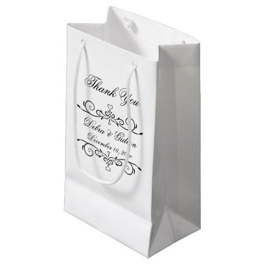 El Flourish blanco y negro elegante del corazón le Bolsa De Regalo Pequeña