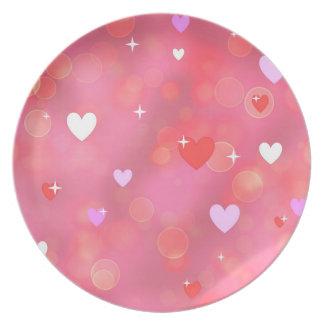 El fondo de la tarjeta del día de San Valentín Plato