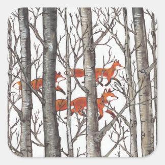 El Fox rojo Foxes al pegatina negro gris del