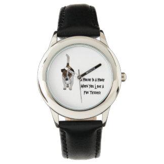 El fox terrier, amor es logotipo, reloj del cuero