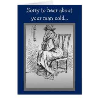 El frío del hombre consigue bien tarjeta de felicitación