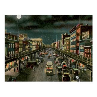 El frondoso, por noche, Nueva York. Vendimia Postal