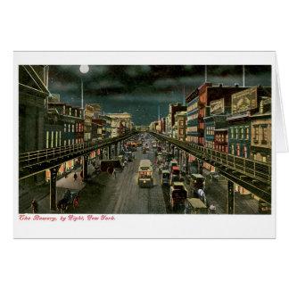 El frondoso, por noche, Nueva York. Vendimia Tarjeta De Felicitación