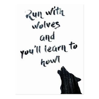 El funcionamiento con los lobos y usted aprenderá postal