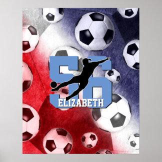 el fútbol conmemorativo rojo de los chicas blancos póster