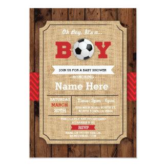 El fútbol de madera de la fiesta de bienvenida al invitación 12,7 x 17,8 cm