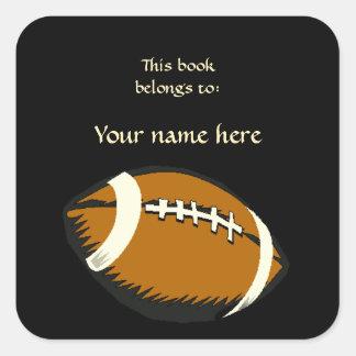 El fútbol se divierte negro y el Bookplate de Pegatina Cuadrada