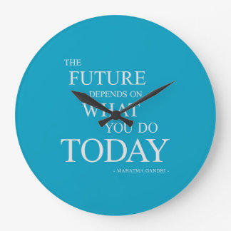 El futuro que inspira el azul de motivación del reloj redondo grande