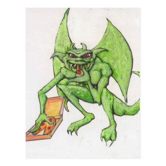 El Gargoyle verde come la pizza Postal