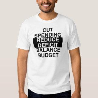 el gasto cortado, reduce el déficit, presupuesto camisetas
