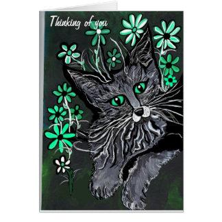 el gatito cariñoso de la tarjeta de felicitación q