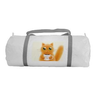 El gatito lindo pintado a mano con café primero bolsa de deporte