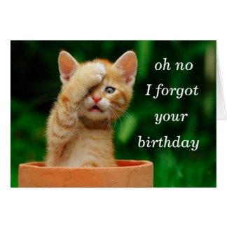 el gatito olvidó cumpleaños tarjeta