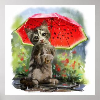 El gatito sostiene un paraguas rojo póster