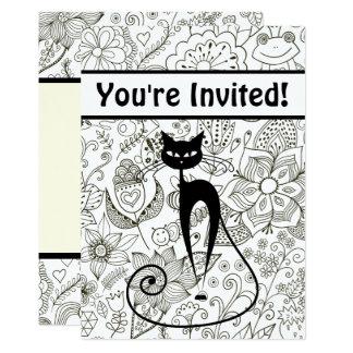El gato con cumpleaños blanco y negro del jardín invitación 12,7 x 17,8 cm