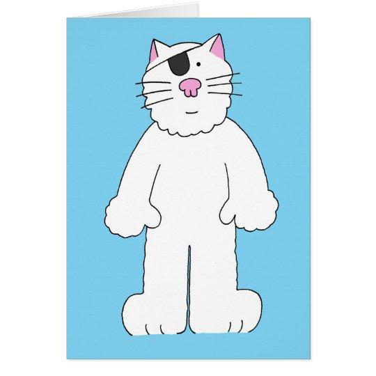 El gato con el remiendo del ojo encendido, tarjeta de felicitación