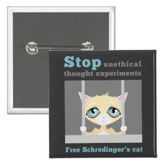 El gato de Schrodinger libre Chapa Cuadrada 5 Cm