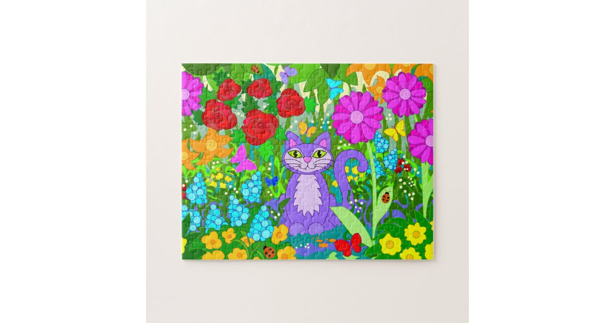 El gato del dibujo animado en jard n florece puzzle zazzle for Ahuyentar gatos del jardin