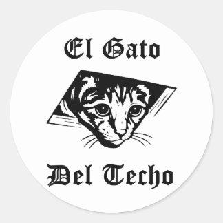 El Gato Del Techo Pegatina Redonda