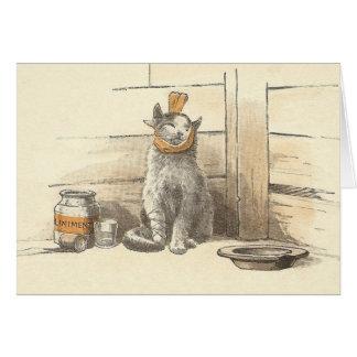 El gato del vintage consigue la tarjeta bien
