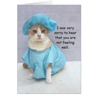 El gato divertido consigue bien tarjeta de felicitación