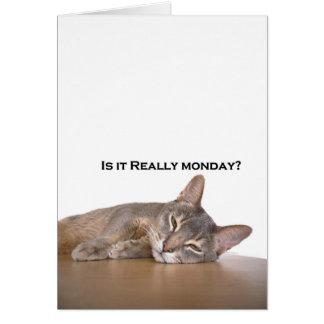 El gato divertido de Brown del abisinio odia lunes Felicitacion