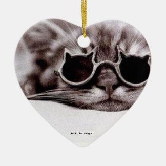 El gato más fresco vivo - ornamento de cerámica en