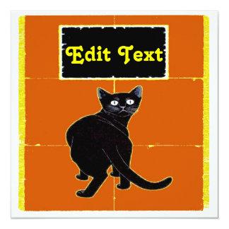 El gato negro, corrige tarjetas de texto invitación 13,3 cm x 13,3cm