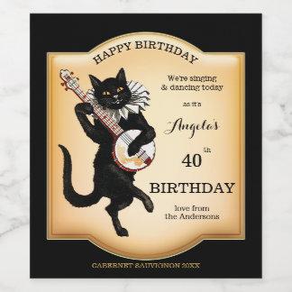 El gato negro del vintage personalizó la etiqueta