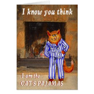 El gato, piensa que soy los pijamas del gato tarjeta de felicitación