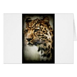 El gato salvaje del leopardo mancha safari de la n tarjeta