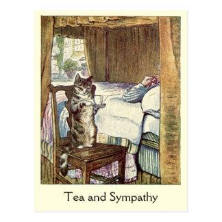 """El gato sirve una taza de """"té y de condolencia """" tarjetas postales"""