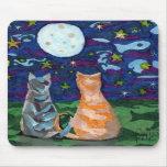 El gato soña arte de la Luna Llena Tapetes De Ratones
