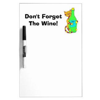 """¡El gato Winey """"no olvida el vino! """" Tableros Blancos"""