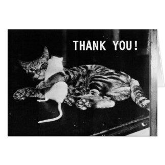 El gato y el ratón asombrosamente de la amistad el tarjeta de felicitación