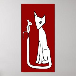 """El gato y el ratón """"hacen mi día """" póster"""