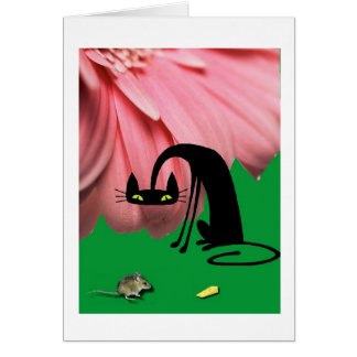 El gato y el ratón tarjeta de felicitación
