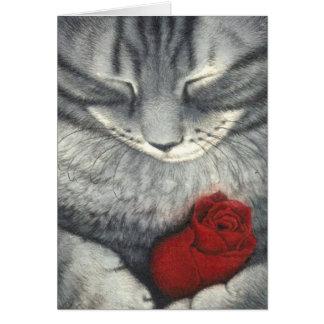 El gato y la tarjeta de condolencia del mascota