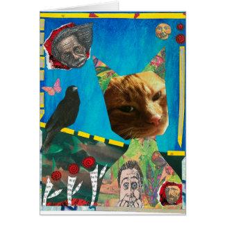 El gato y la tarjeta de felicitación del pájaro