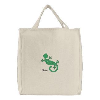 El Gecko verde personalizó el bolso bordado