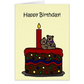 el gemelo del muchacho-chica refiere cumpleaños de tarjeta