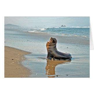 El gemelo oscila el león marino tarjeta de felicitación