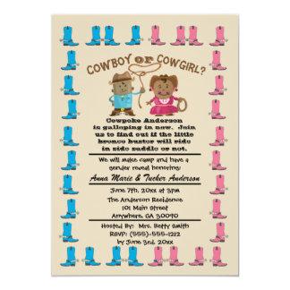 El género de la vaquera o del vaquero revela la invitación 12,7 x 17,8 cm