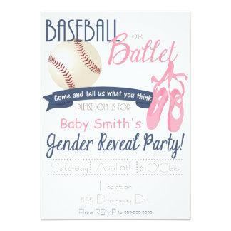 El género del béisbol o del ballet revela tarjetas invitación 12,7 x 17,8 cm