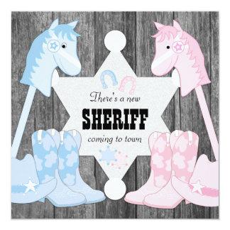 El género del vaquero del sheriff revela invitación 13,3 cm x 13,3cm