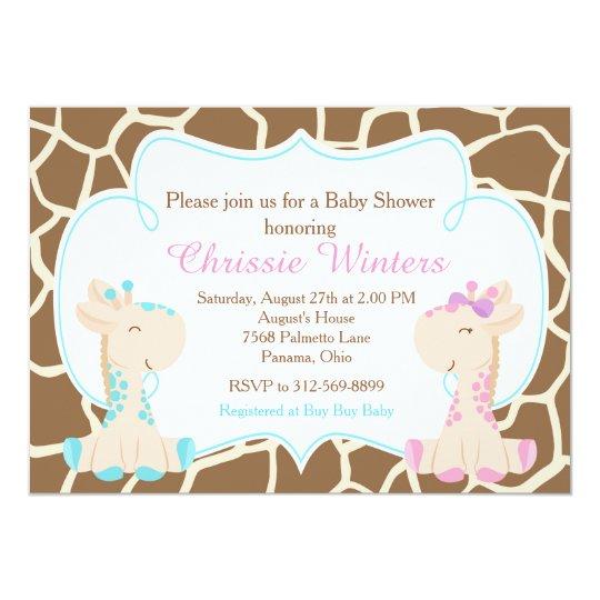 El género lindo de la jirafa revela o hermana la invitación 12,7 x 17,8 cm