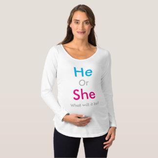 El género revela camiseta de premamá