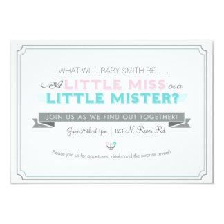 El género revela la fiesta de bienvenida al bebé invitación 8,9 x 12,7 cm