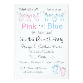 El género rosado o azul lindo revela la invitación
