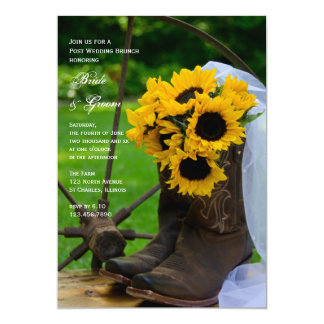 El girasol rústico patea brunch del boda del poste invitación 12,7 x 17,8 cm